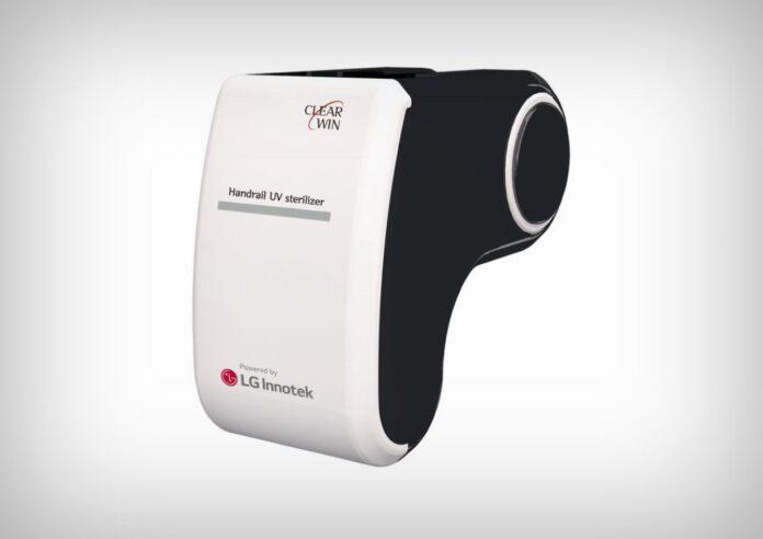 Dispozitivul UV care sanitizează balustradele scărilor rulante